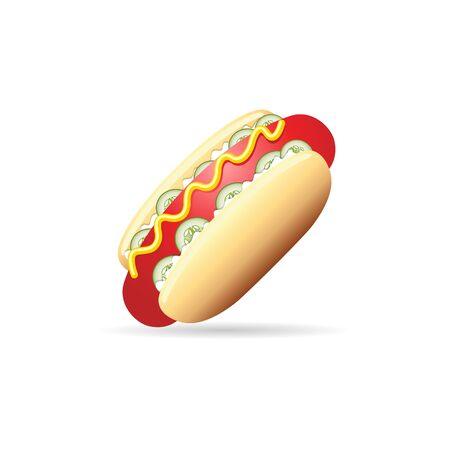 Hot dog icon in color. Fast food junk American