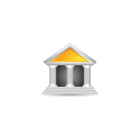 classical arts: Bank building icon in color. Business banking money