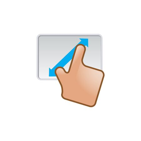 pc icon: Finger gesture icon in color. Gadget touch pad smartphone laptop Illustration