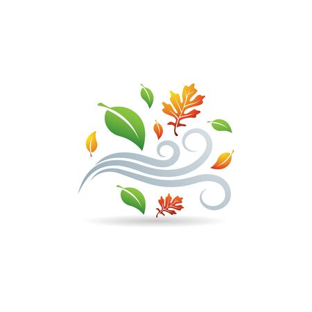 Autumn leaves icon in color. Falls wind blow season