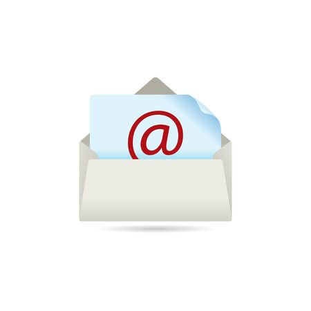 contact: Email icon in color. Message open envelope Illustration