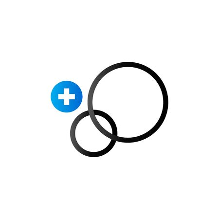 duo: Circles and plus sign icon in duo tone color. Social media interaction