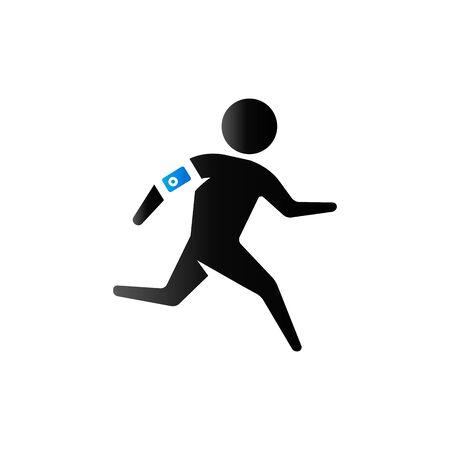 Running athlete icon in duo tone color. Marathon triathlon sport