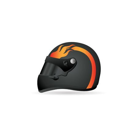 head protection: Motorcycle helmet icon in color. Sport head protection safety