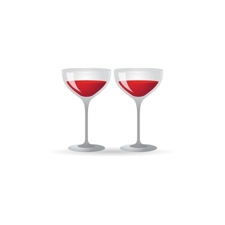 Wine glass icon in color. Celebration couple drinking