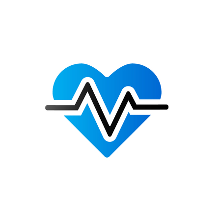 Heart rate icon in duo tone color. Human pulse graph