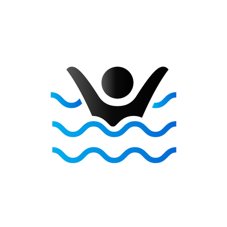 drown: Drowned man icon in duo tone color. People accident water sea