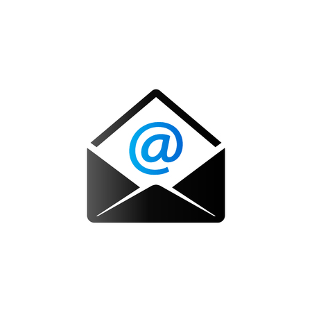 contact: Email icon in duo tone color. Message open envelope