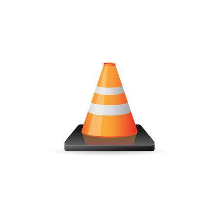 danger: Road sign cone icon in color. Danger forbidden transportation Illustration