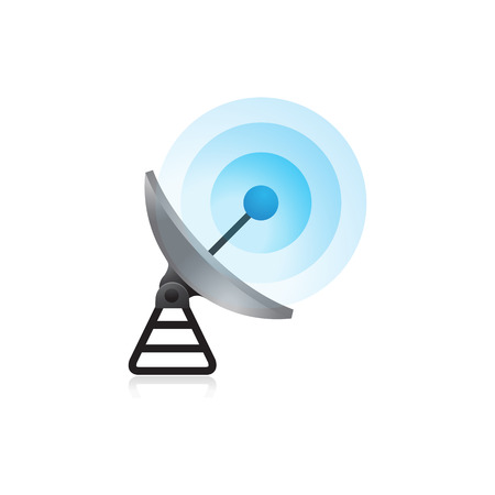 Satellite receiver icon in color. Data information technology