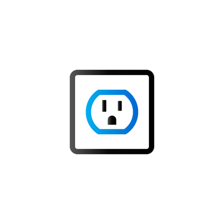 plate: Electrical outlet icon in duo tone color. Electronic connect plug Illustration