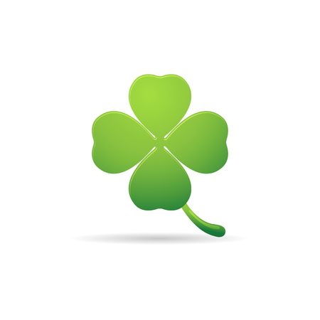 four objects: Clover icon in color. Nature plant green