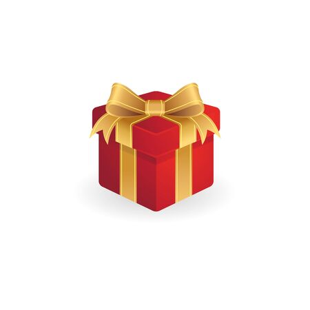 Gift box icon in color. Present birthday Christmas holiday Illustration