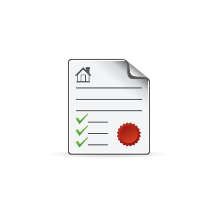 signing papers: Contract document icon in color. Agreement arrangement loan Illustration