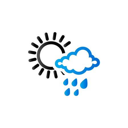 Weather overcast partly rain icon in duo tone color. forecast raining season monsoon