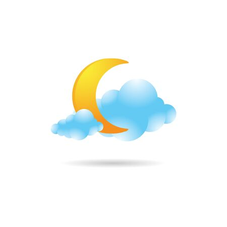 Weather overcast cloudy icon in color. forecast night cloudy cold