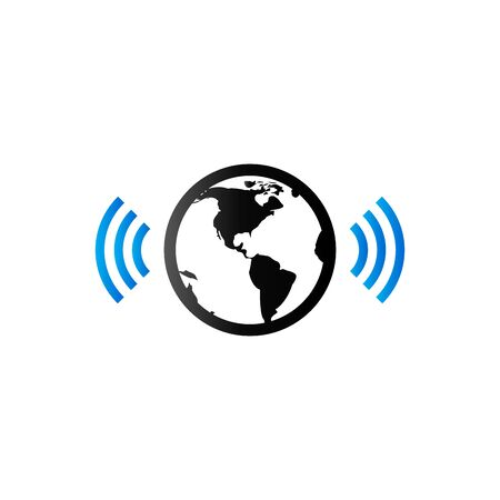 wireless internet: Wireless world icon in duo tone color. Internet communication connection