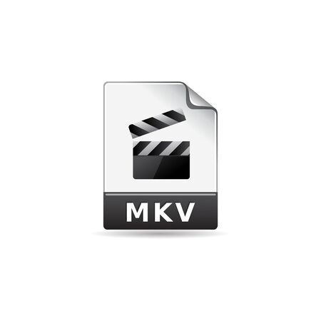 clouds: Video file format icon in color. Computer data movie