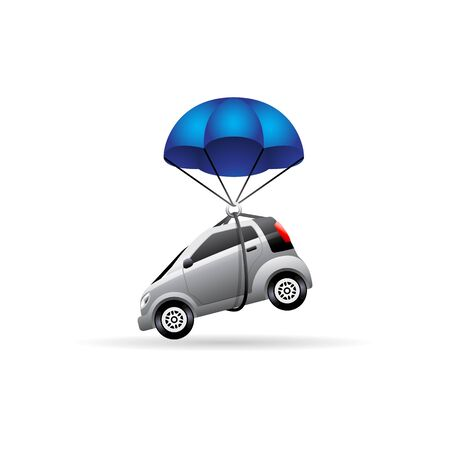 Car parachute icon in color. Insurance protection transportation