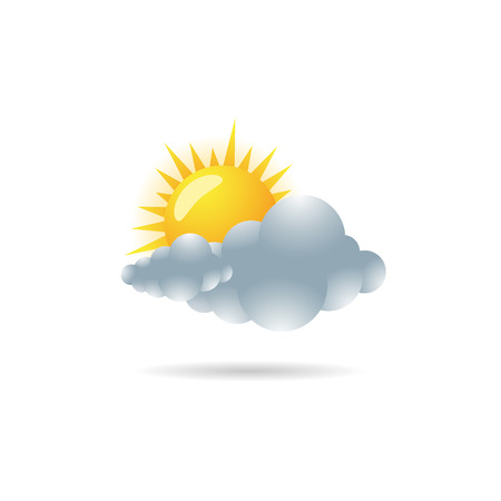 overcast: Weather forecast partly cloudy icon in color. Meteorology overcast Illustration