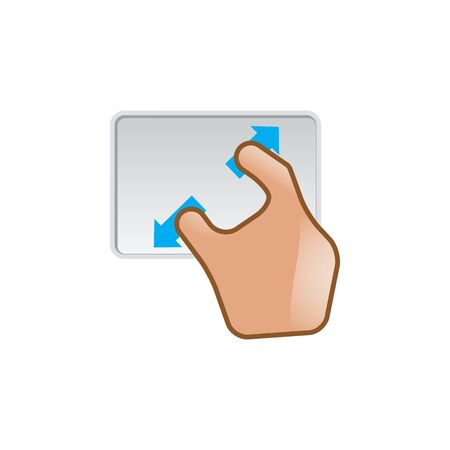 track pad: Finger gesture icon in color. Gadget touch pad smartphone laptop Illustration