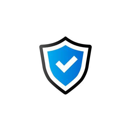 icono computadora: icono del escudo en el color de tono del dúo. Protección antivirus informáticos Vectores