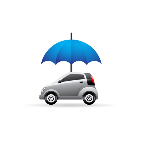 Car and umbrella icon in color. Insurance protection