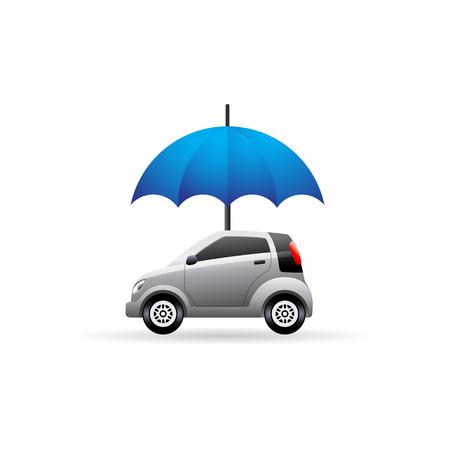 Icono de coche y paraguas en color. Protección del seguro