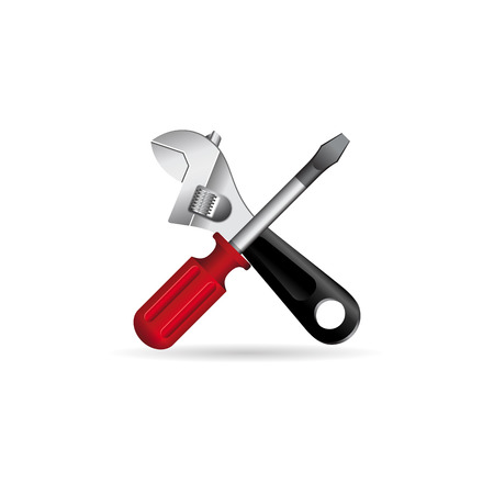 worktool: Mechanic tools icon in color. Wrench screw driver mechanic
