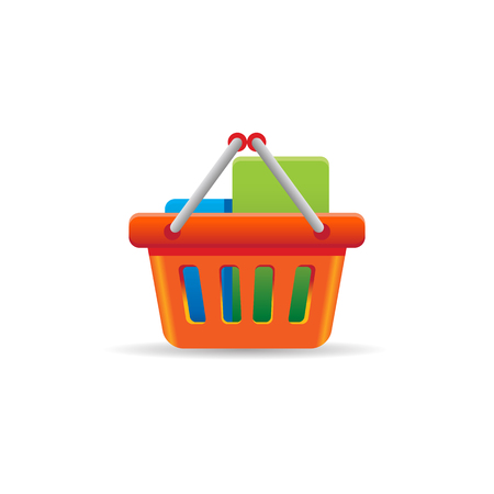 Shopping basket icon in color. Buying ecommerce