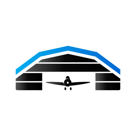 Airplane hangar icon in duo tone color. Aviation maintenance building