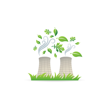 radioactive sign: Nuclear plant with leaves icon in color. Go green environment friendly Illustration