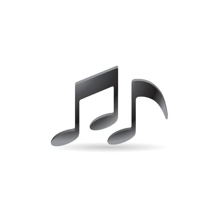crotchets: Music notes icon in color. Musical crotchets quaver Illustration