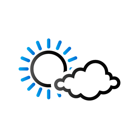 Weather forecast partly cloudy icon in duo tone color. Meteorology overcast