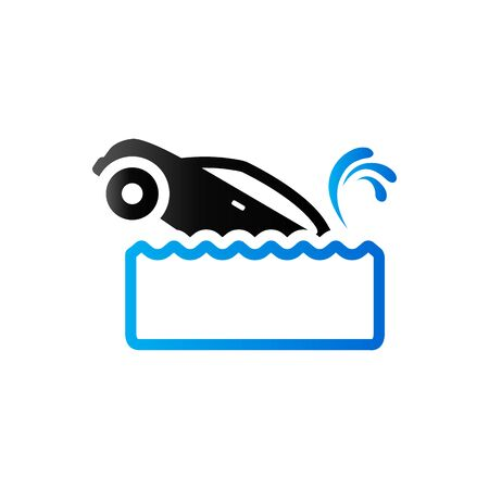 drowned: Drowned car icon in duo tone color. Automotive accident flood Illustration
