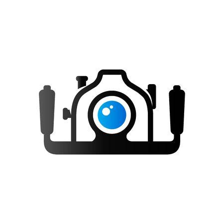 Underwater camera icon in duo tone color. Photography sea water