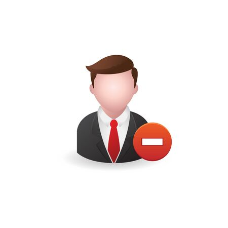 design office: Businessman with minus sign icon in color. Business, team, remove