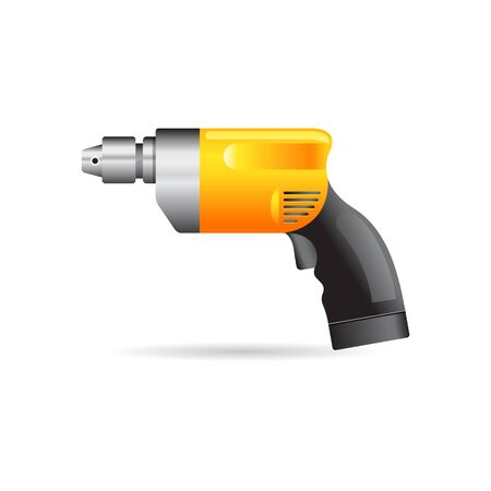 joinery: Electric drill icon in color. Machine tool wood working