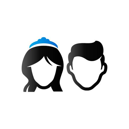 newlywed: Bride and groom icon in duo tone color. Married couple newlywed Illustration