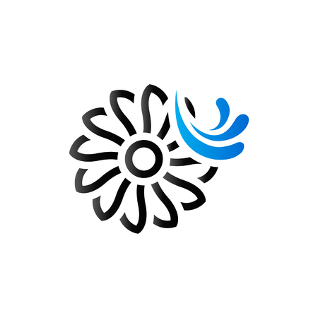 Water turbine icon in duo tone color. Energy renewable environment Illustration