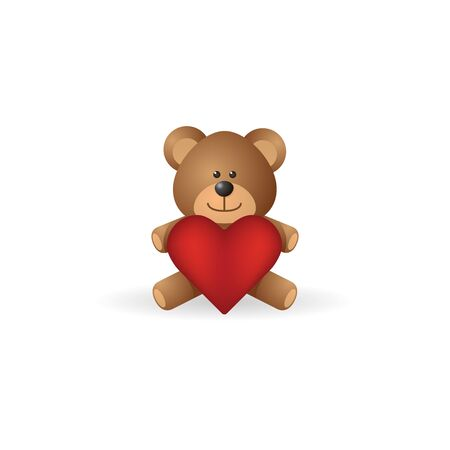 acquaintance: Teddy holding heart shape icon in color. Valentine love present