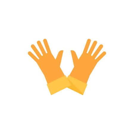 Cleaning glove icon in flat color style. Equipment rubber household bathroom chemical Illustration