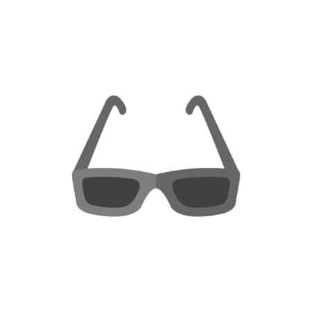 medical technology: Eyeglasses icon in flat color style. Fashion hipster dark black retro