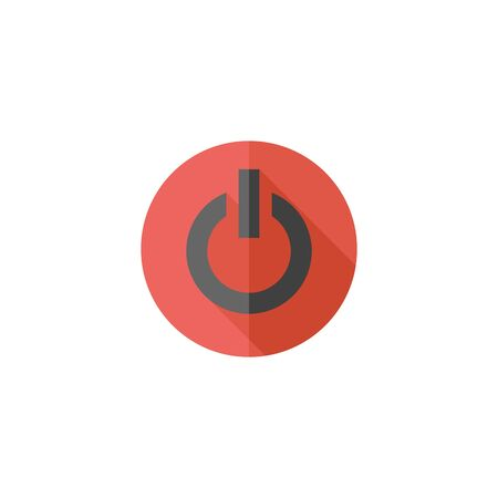 Power button icon in flat color style electronic switch start startup