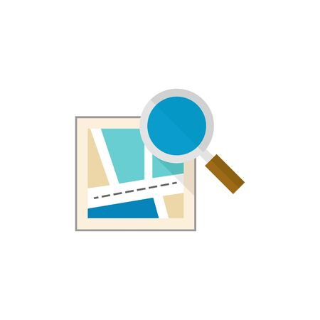 find: Road map icon with loupe  in flat color style. Illustration