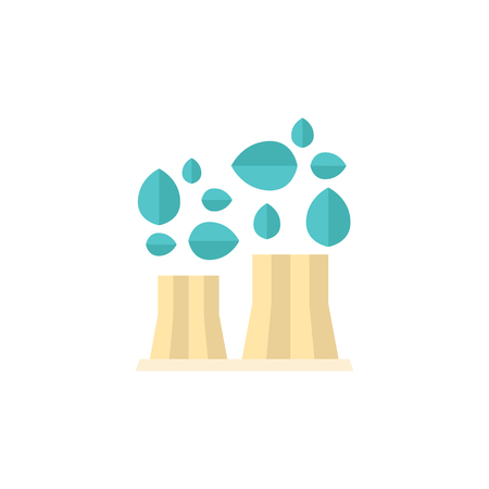Nuclear plant with leaves icon in flat color style. Go green, environment friendly