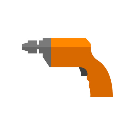 drilled: Electric drill icon in flat color style. Machine carpenter tool equipment wood working