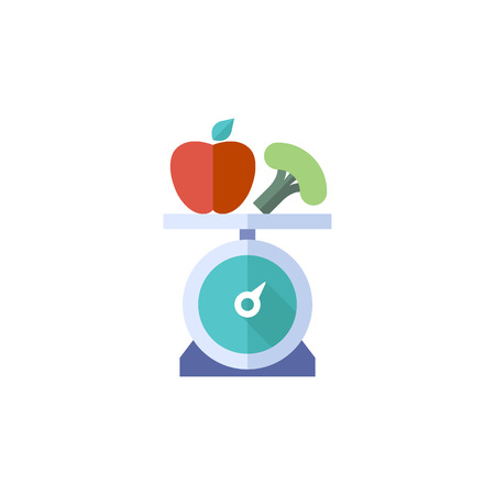 Food scale icon in flat color style. Healthy lifestyle diet fresh vegetable fruit
