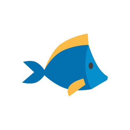 fish animal: Fish icon in flat color style. Sea creature animal cute pets