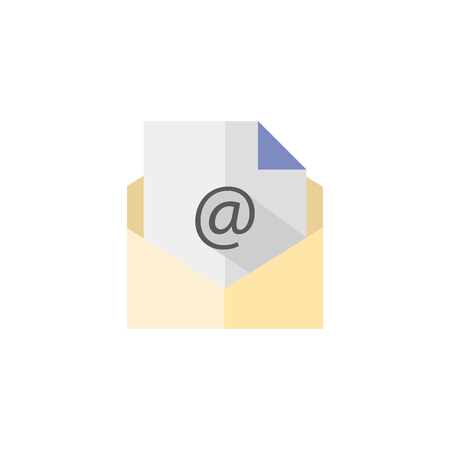 Email icon in flat color style. Open envelope